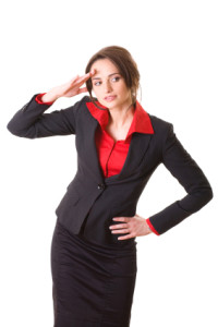 attractive businesswoman in red shirt and jacket, isolated on wh